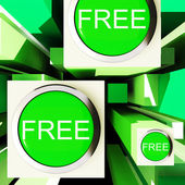 Free Buttons On Cubes Showing Freebie Products — Stock Photo
