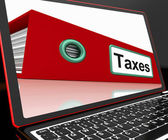 Taxes File On Laptop Shows Online Payment — Stock Photo