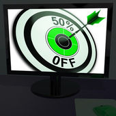 Fifty Percent Off On Monitor Showing Special Discounts — Stock Photo