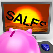 Sales Sinking On Monitor Shows Sales Collapse — Stock Photo