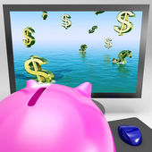 Dollar Symbols Drowning On Monitor Showing Financial Disaster — Stock Photo
