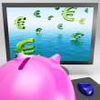 Euro Symbols Drowning On Monitor Shows European Depression — Stock Photo