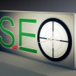 Stock Photo: Seo Target Promotes Website And Internet Marketing