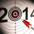 Stock Photo: 2014 Projection Target Shows Successful Future