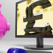 Pound Screen Shows Sterling Money Financing Profit — Stock Photo