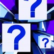Question Mark On Cubes Shows Uncertainty — Stock Photo