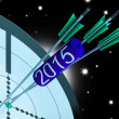2015 Accurate Dart Target Shows Successful Future — Stock Photo