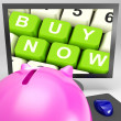 Buy Now Keys On Monitor Showing Ecommerce — Stock Photo