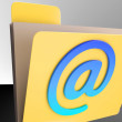 Email Folder Shows Online Mailing Inbox File — Stock Photo