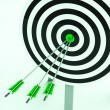 Arrows On Dartboard Shows Perfection — Stock Photo