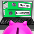 Savings And Investments Files On Laptop Showing Finances — Stock Photo