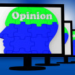 Opinion On Brain On Monitors Shows Human Judgment — Zdjęcie stockowe