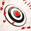 Foto Stock: Off Target Shows Aiming Mistake