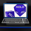 Sell And Hold Dices On Laptop Showing Strategies — Stock Photo