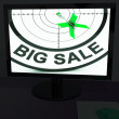 Big Sale On Monitor Shows Big Promotions — Stock Photo