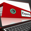 Exports File On Laptop Showing Distribution Reports — Foto de Stock