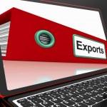 Экспортирует файл на ноутбуке, показаны распределения докладов — Стоковое фото