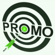 Promo Target Shows Promoted Shopping Sale — Stok fotoğraf