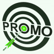 Promo Target Shows Promoted Shopping Sale — Lizenzfreies Foto