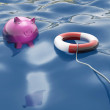 Piggy With Lifebuoy Shows Lifesaver And Investment — Stock Photo
