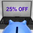 Twenty-Five Percent Off On Notebook Shows Special Offers — Stock Photo