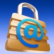 At Sign Padlock Shows Security Online Communication — ストック写真