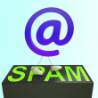 At Sign Spam Shows Malicious Electronic Junk Mail — Stock Photo