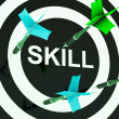 Skill On Dartboard Shows Competencies — Stok fotoğraf