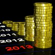 Stock Photo: Coins On 2013 Shows Currents Expectations