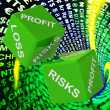 Profit, Loss, Risks Dice Background Shows Risky Investments — Stock Photo