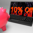 Stock Photo: Ten Percent Off On Laptop Showing Reduced Prices