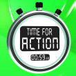 图库照片: Time for Action Clock Shows To Inspire And Motivate