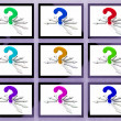 Question Marks On Monitors Showing Asked Questions — 图库照片 #27611801