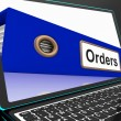 Orders File On Laptop Shows Customers Records — Stock Photo