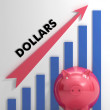 Raising dollars, usd Chart Shows American Progress — Stock Photo