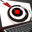 Stock Photo: Dartboard On Laptop Shows Effectiveness