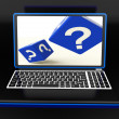Question Mark On Laptop Showing Confusion — Stock Photo