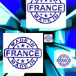 Made In France On Cubes Showing French Factories — Stock Photo