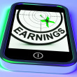 Earning On Smartphone Showing Profitable Incomes — Foto Stock