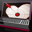 Target Heart On Laptop Shows Flirting — Stock Photo