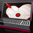 Target Heart On Laptop Shows Flirting — Stock Photo #27612239
