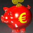 Stock Photo: Coins Entering Piggybank Shows EuropeLoans