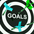 Stock Photo: Goals On Dartboard Shows Aspirations
