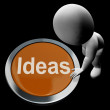 Stock Photo: Ideas Button Means Improvement Concept Or Creativity