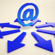 Email Arrows Shows Post Correspondence Through Web — Stok Fotoğraf #27612295