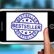Bestseller On Smartphone Shows First Rated Book — Stock Photo