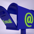 Stock Photo: Mail On Email box Shows Received Emails