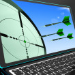 Arrows Aiming On Laptop Shows Perfect Strategies — Stock Photo