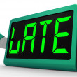 Stock Photo: Late Message On Clock Showing Tardiness And Lateness