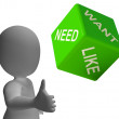 Need Want And Like Dice Showing Yearning — Stock Photo